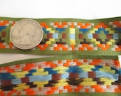 vintage sewing trim, embroidered ribbon, geometric pattern, vtg sewing notions, craft supply tape, decorative ribbon, orange yellow brown