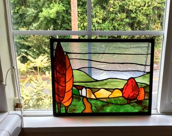 Autumn Tree Landscape Stained Glass Panel