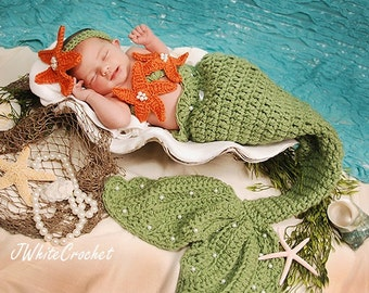 Leaf Green Mermaid Crochet photo prop set, Newborn to teen,Photography Outfit, Handmaid Boutique, mermaid Costume