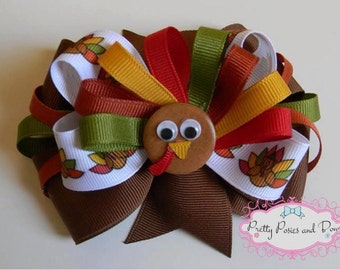 Thanksgiving Turkey Hair Bow, Turkey Hair Bow, Fall Hair Bow, Thanksgiving Hair Bow, Turkey Bow, Thankgiving Bow, Large Thanksgiving Bow