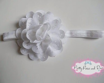White Eyelet Flower Headband, White Eyelet Flower Hair Clip, Elastic Headband, White Headband,  Baby Shower Gift, Easter Headband
