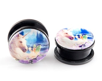 SALE 25% OFF - Unicorn and Flowers Mystical Acrylic Plugs 22mm