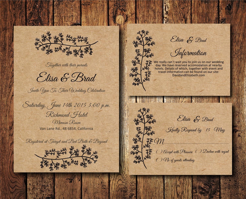 vintage kraft paper wedding invitations