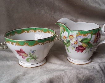 Vintage Narcissus Fine Bone China, Sugar and creamer set, Made In England