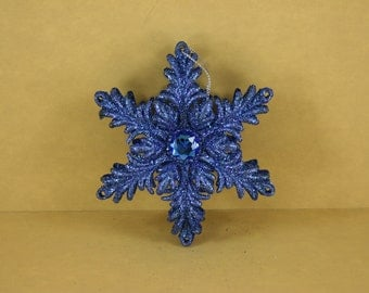 1 ROYAL Blue Double Layer LEAF With Gem Christmas Ornament 5 inches wide