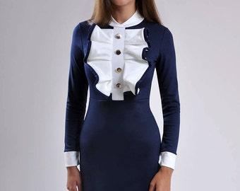 Women Ruffle Dress Dark blue White Mini Dress Party Dress Short dark blue dress new design