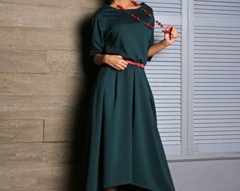 Green dress Asymmetrical dress Occasion dress Autumn Dress floor maxi dresses for women jersey dress