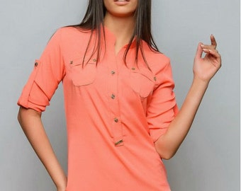 Coral blouse. Crepe chiffon blouse. Every day blouse. Spring blouse. Blouse for women. Blouse with buttons