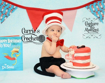 Crochet Cat In The Hat Set - First Birthday