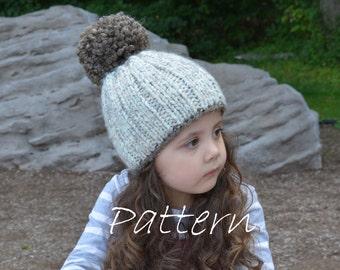 Pom pom Hat Knitting Pattern / Chunky Knit Hat
