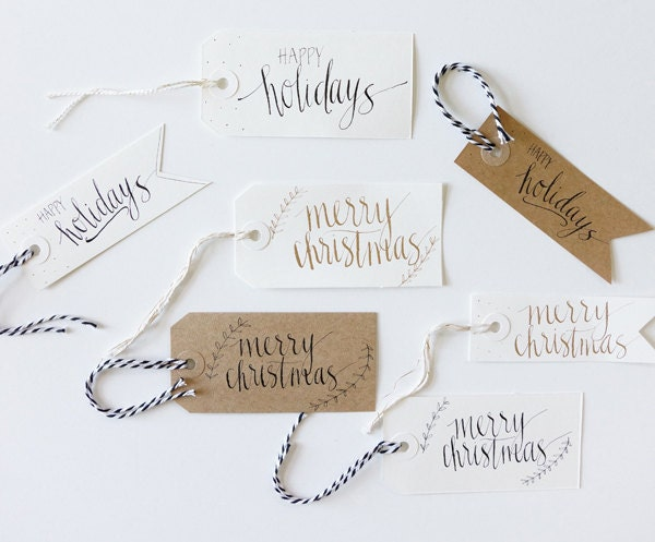 Christmas gift tags modern calligraphy set of by