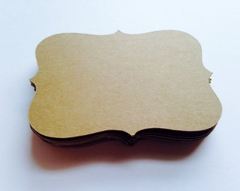 "Kraft Die Cut Bracket Labels (3.5"" wide), Rustic Escort Cards, Rustic Gift Tags, Rustic Wedding Place Cards, Blank Tags"