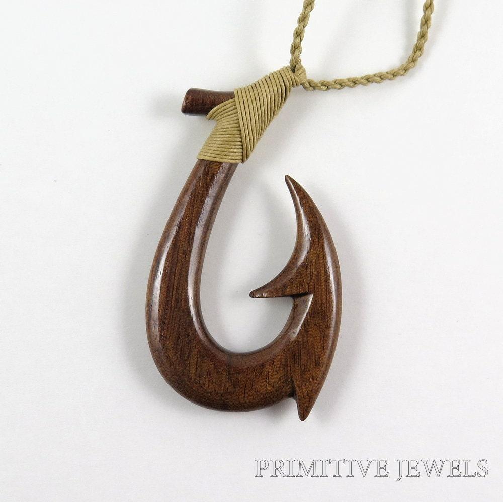 Hawaiian new zealand hand carved koa wood fish hook necklace for Hawaiian fish hook necklace