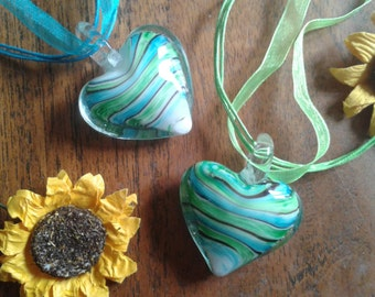 Murano glass striped heart pendant necklace - Turquoise/Green