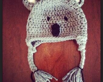 Koala bear crocheted baby hat 0-3 months