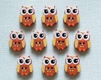 10 Wooden Owl Buttons -  #SB - 00092