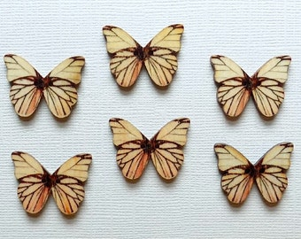 6 Wooden Butterfly Buttons - #BF-00026