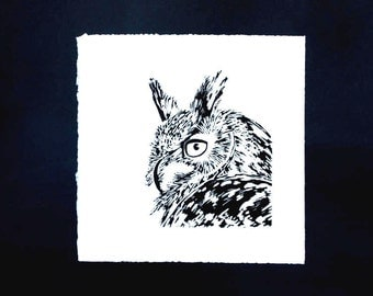 Linocut of an Eagle-Owl, original Art Print, limited edition.