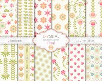 "Floral Digital Paper Set - 12 Printable digital papers for scrapbooking, invites, cards - 12""x12"" - 300dpi- Instant Download"