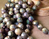 SLATE ABSTRACT 8mm Luster Opaque Green Firepolish Faceted Round Czech Glass Beads - Earthy Rustic Sage Blue Aqua Lavender - Qty 25 (8-141)
