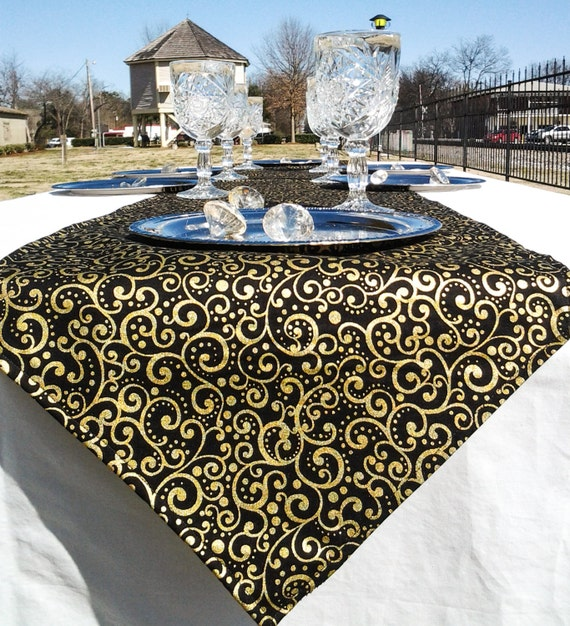Black And Gold Swirl Print Table Runner Reversible 4to6
