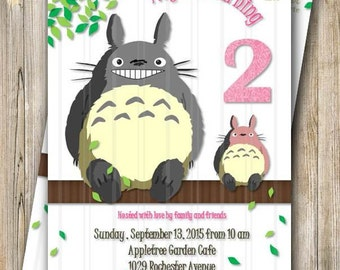 Totoro Birthday Party Invitation, Pink Totoro Party Invite, Digital Girl Birthday Invitation, Ghibli Totoro Birthday Invite, Japanese Anime