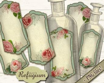 printable  Bottle Labels flowered digital INSTANT DOWNLOAD collage sheet
