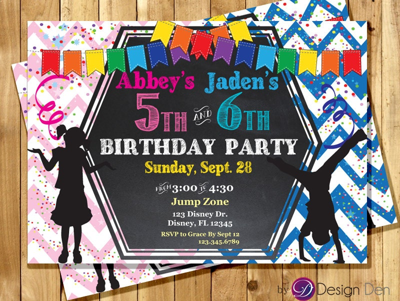 Printable Joint Birthday Party Invitations ~ Kids joint birthday party invitations boy girl