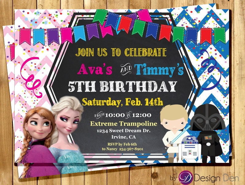 frozen and galaxy wars joint birthday party invitations star, invitation samples