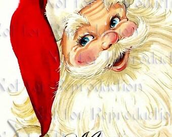 CHRISTMAS FABRIC BLOCK Santa Fat Quarter Vintage Christmas Card Santa Print  cfsf27.
