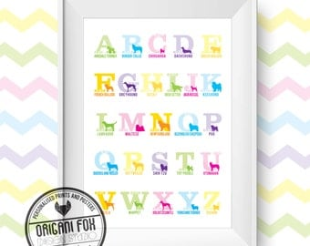 Dog Alphabet Print - Nursery Print / Poster - Canine Typography Illustration