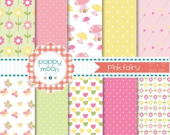 Fairy pink and yellow digital paper pack