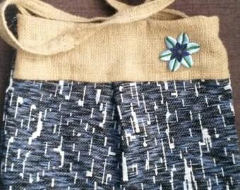 1 Blue Crossbody Shoulder Handbag Burlap and Fabric Purse Tote Bag