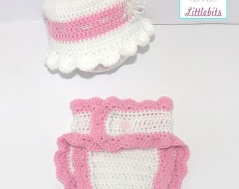 Newborn Baby Crocheted Pink/White Diaper Cover & Sunhat.