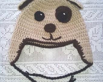 Brown Dog Earflap Crochet Kids Hat