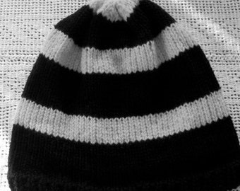 Black and White Striped Knitted Hat, Unisex Beanie
