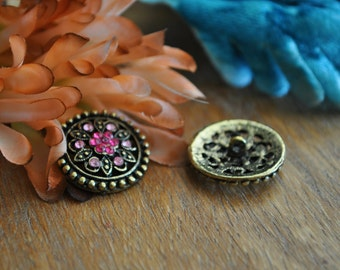 Vintage 1970 Button/Jewelry in Dark Pink and Light Pink Lot of 2