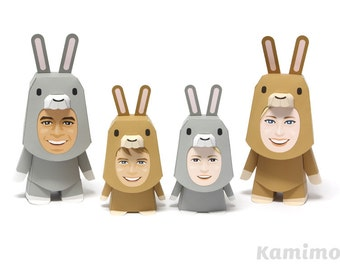 Printable Paper Craft PDF / KIGURUMMY - Rabbit Family (standard color)