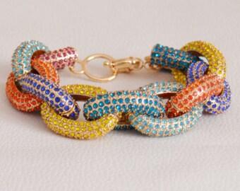 Six rows classic pave link bracelet multi color crystal bracelet