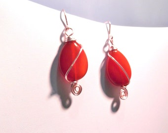 Rose gold wire wrapped orange glass bead earrings