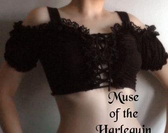 Black Romantic Gothic Cropped Peasant Top