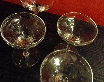 Set of Four Hammered Look Style Crystal Champange Glasses . Vintage Sale 10PERCENTOFF