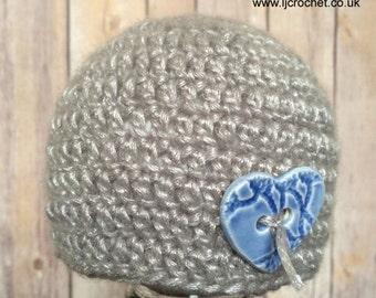 Newborn Beanie Hat, Newborn Boy Prop, Photography Prop, Crochet Baby Beanie Hat, Baby Boy Hat, UK SELLER