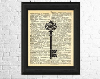 Dictionary Page Art Instant Download, Antique Key Printable Poster, Key Print, Key Digital Image, Dictionary page Art, Key Poster