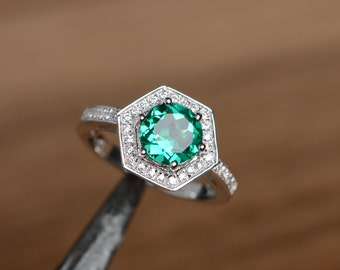 emerald ring engagement ring promise ring  birthstone ring sterling silver ring gemstone lab emerald