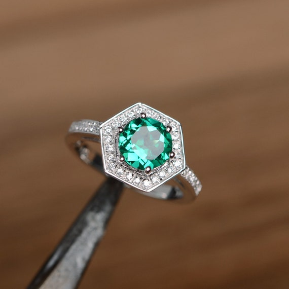 emerald ring engagement ring promise ring birthstone ring