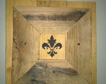 Framed Pallet Wood Fleur De Lis
