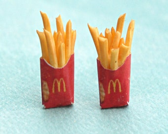 french fries earrings -miniature food jewelry, food earrings, fast food jewelry