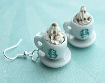 starbucks coffee with whipped cream dangle earrings- miniature food earrings, coffee cup earrings, food jewelry