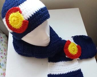 Colorado Flag Crochet, Colorado Flag beanie, Colorado Flag Hat, Colorado Flag scarf, Colorado flag crochet hat, headband, scarf, handmade